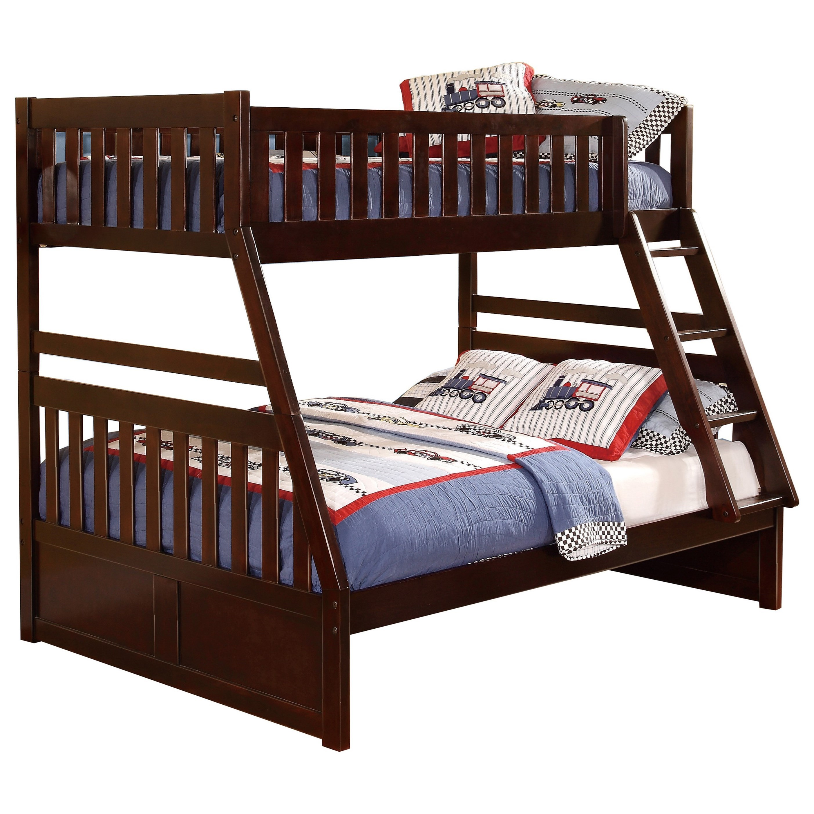 Picture of: Homelegance Rowe Casual Twin Over Full Bunk Bed Darvin Furniture Bunk Beds
