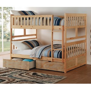 Full Over Full Bunk Bed with Toy Storage