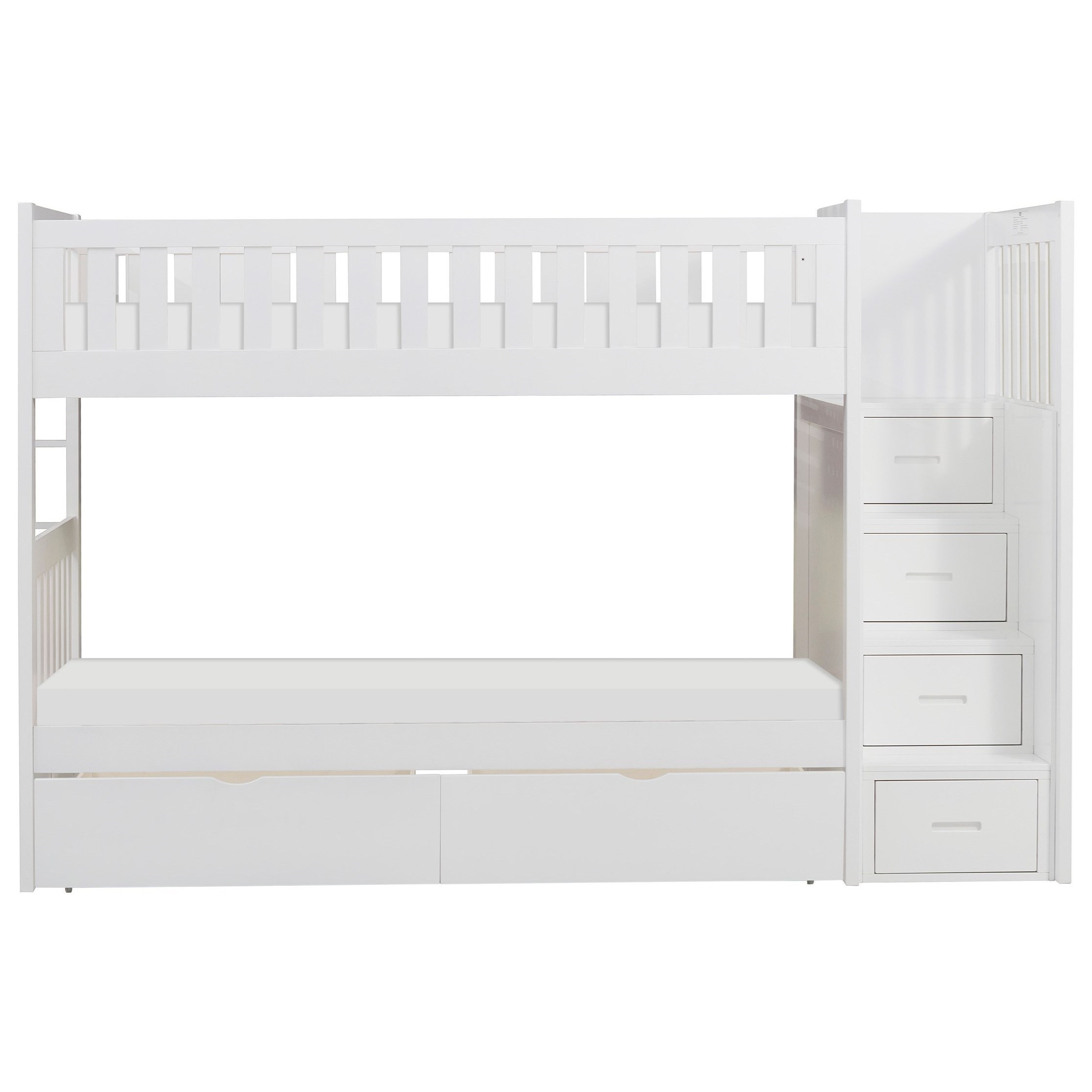 Picture of: White Casual Twin Over Twin Bunk Bed With Reversible Step Storage And Underbed Storage Walker S Furniture Bunk Beds