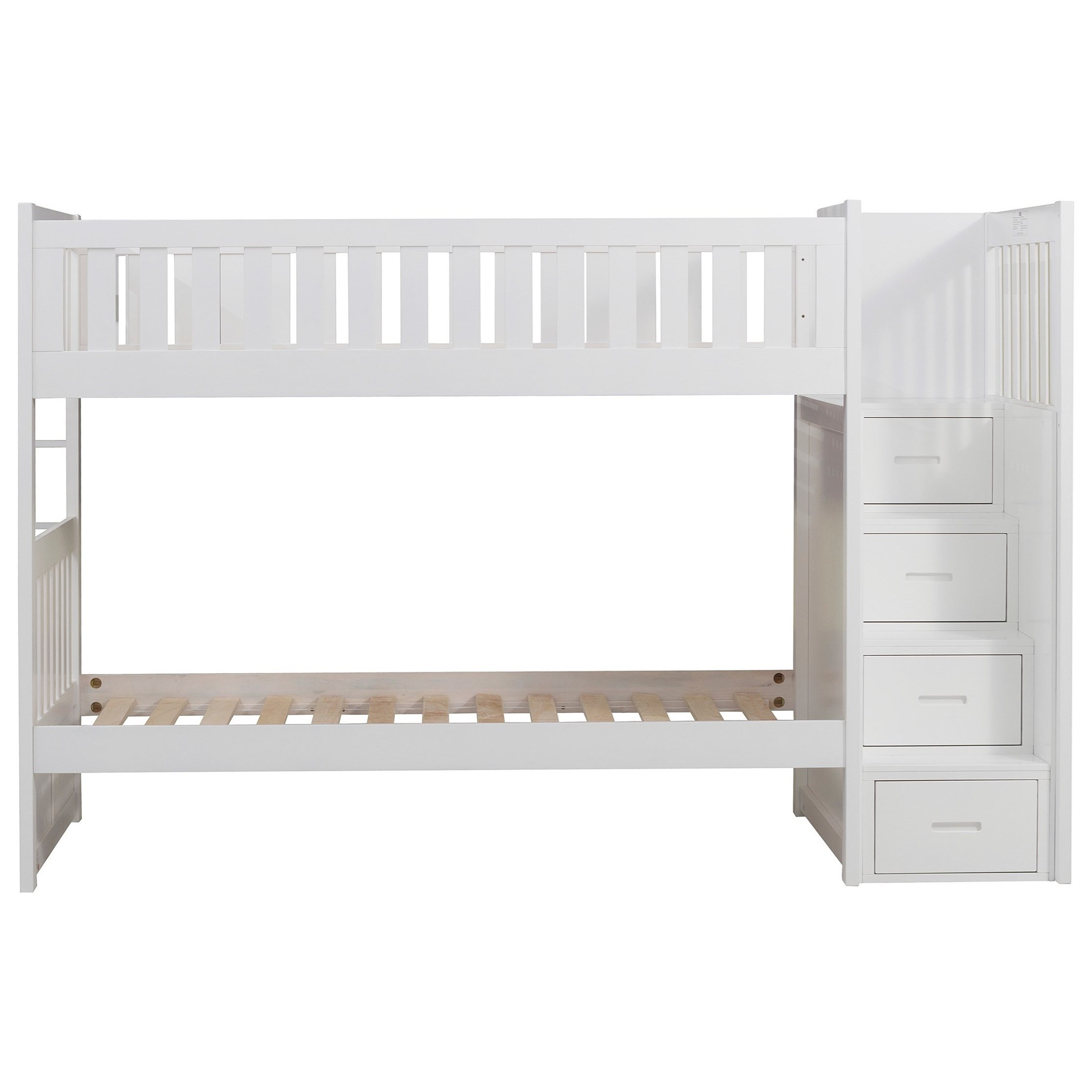 White Casual Twin Over Twin Bunk Bed With Reversible Step Storage Walker S Furniture Bunk Beds