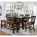 Homelegance Schleiger Table and Chair Set with Bench - Item Number: 5400-36XL+XLB+4x24SW+24BH