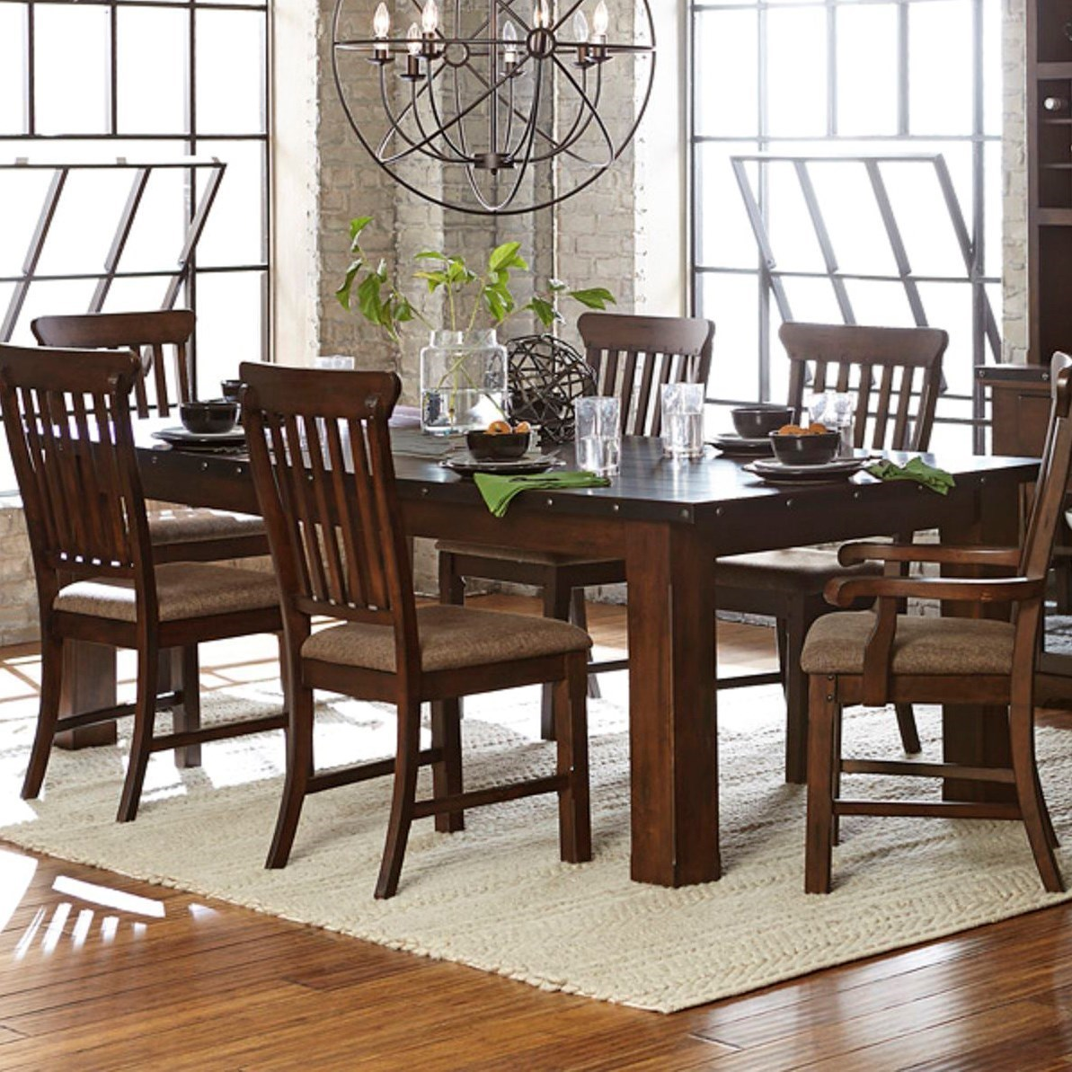 Homelegance Schleiger Industrial Dining Table With Metal Trim And Decorative Nail Heads Beck 39 S