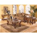 Homelegance Tarantula Traditional Burnished Brown Cherry & Marble Sofa Table - Shown with Cocktail Table & End Table