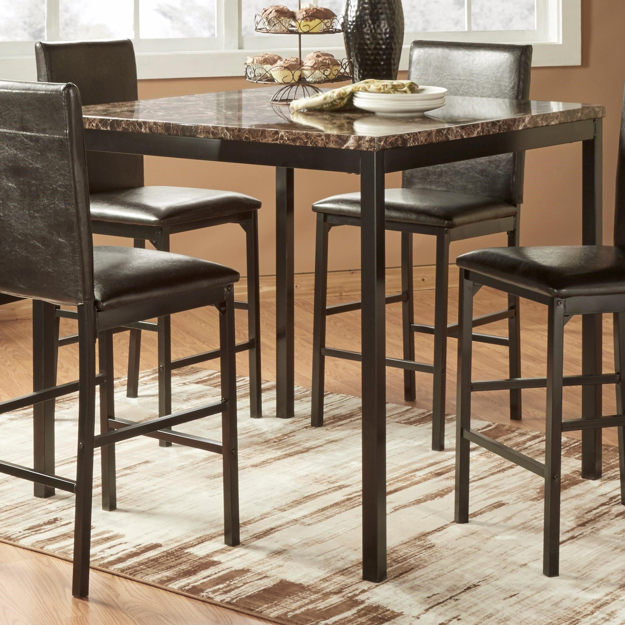 Homelegance Tempe Casual Pub Table With Faux Marble Top