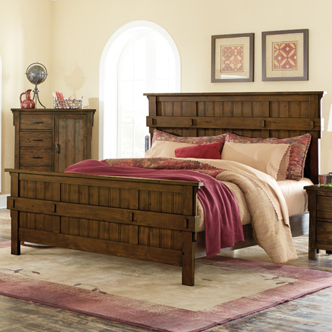 Homelegance Terrace Mission Queen Headboard and Footboard - Item Number: 1907-1+2+3