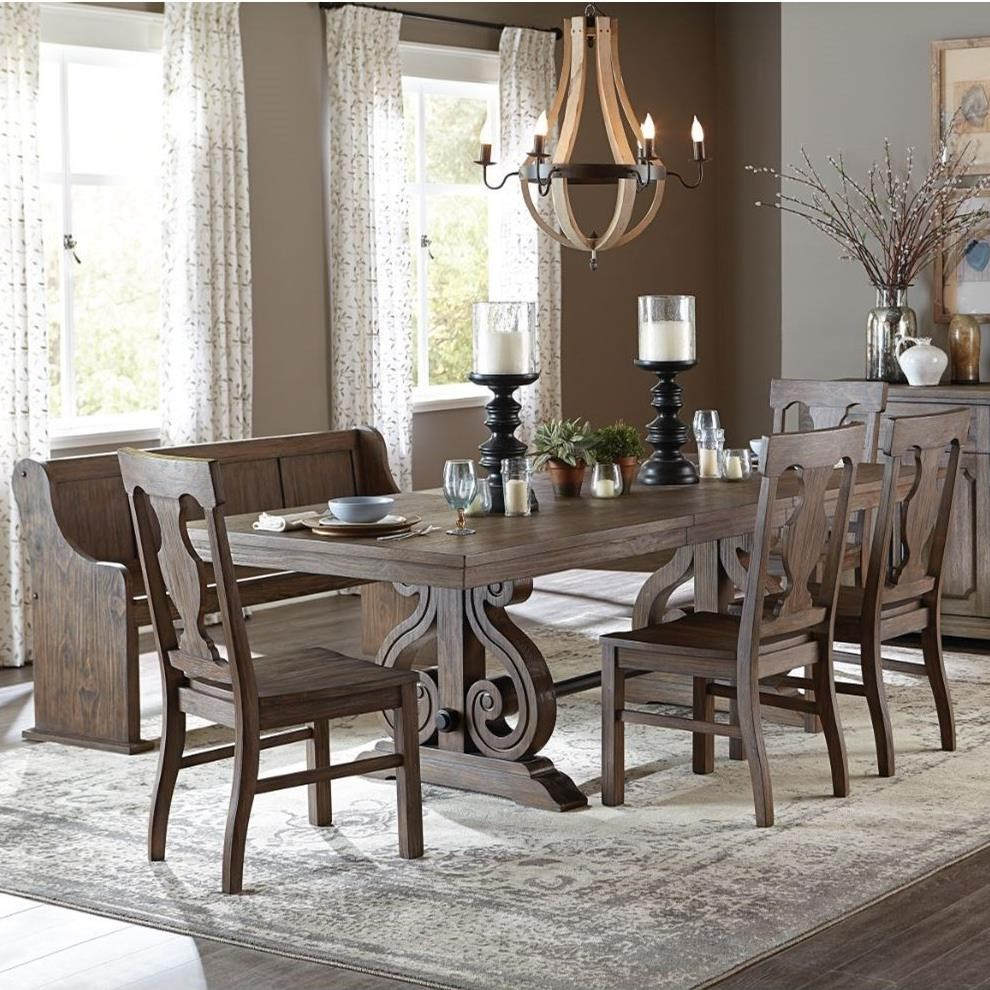 6-Piece Table and Chair Set with Bench