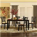 Homelegance Westport 5 Piece Table and Chair Dining Set with 18