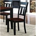 Homelegance Westport Slat Back Dining Side Chair in Two Tone Black and Cherry Finish
