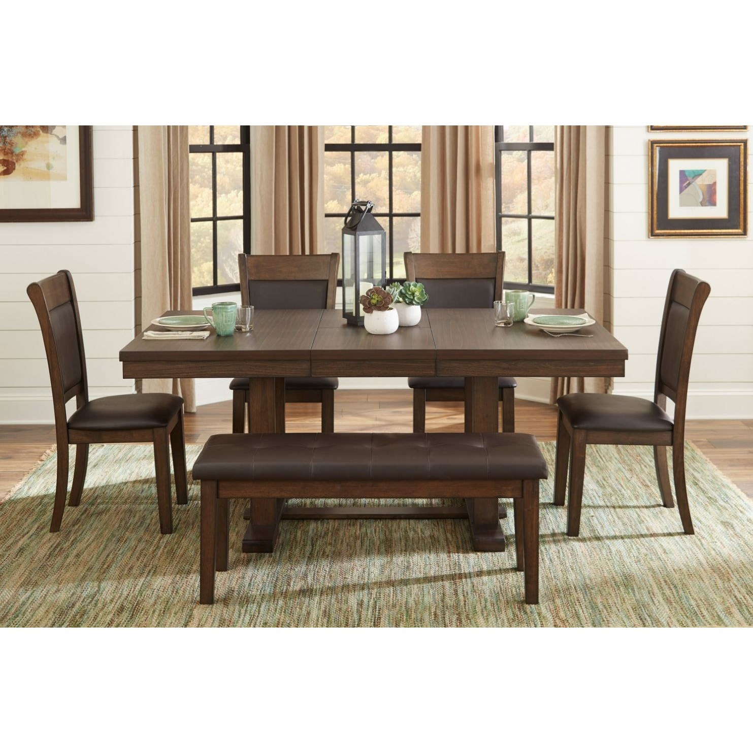 Wieland 6-Piece Table and Chair Set with Bench by Homelegance at Beck's Furniture