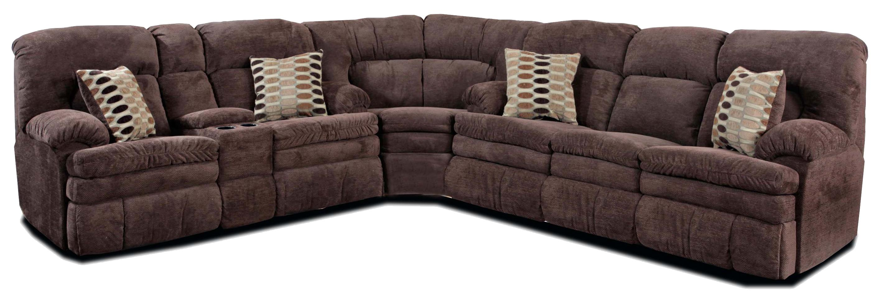 HomeStretch 103 Chocolate Series Reclining Sectional Sofa - Item Number: 103-22-22+00-22+30-22