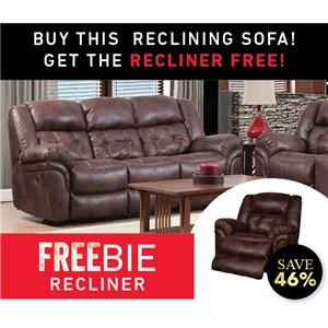 Elijah Reclining Sofa with Freebie Recliner
