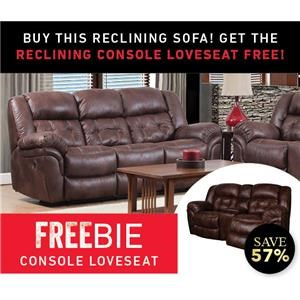 Elijah Reclining sofa with Freebie Loveseat