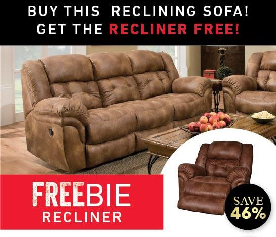 Elijah Reclining Sofa with Freebie Recliner