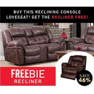 Elijah Console Loveseat with Freebie Recline