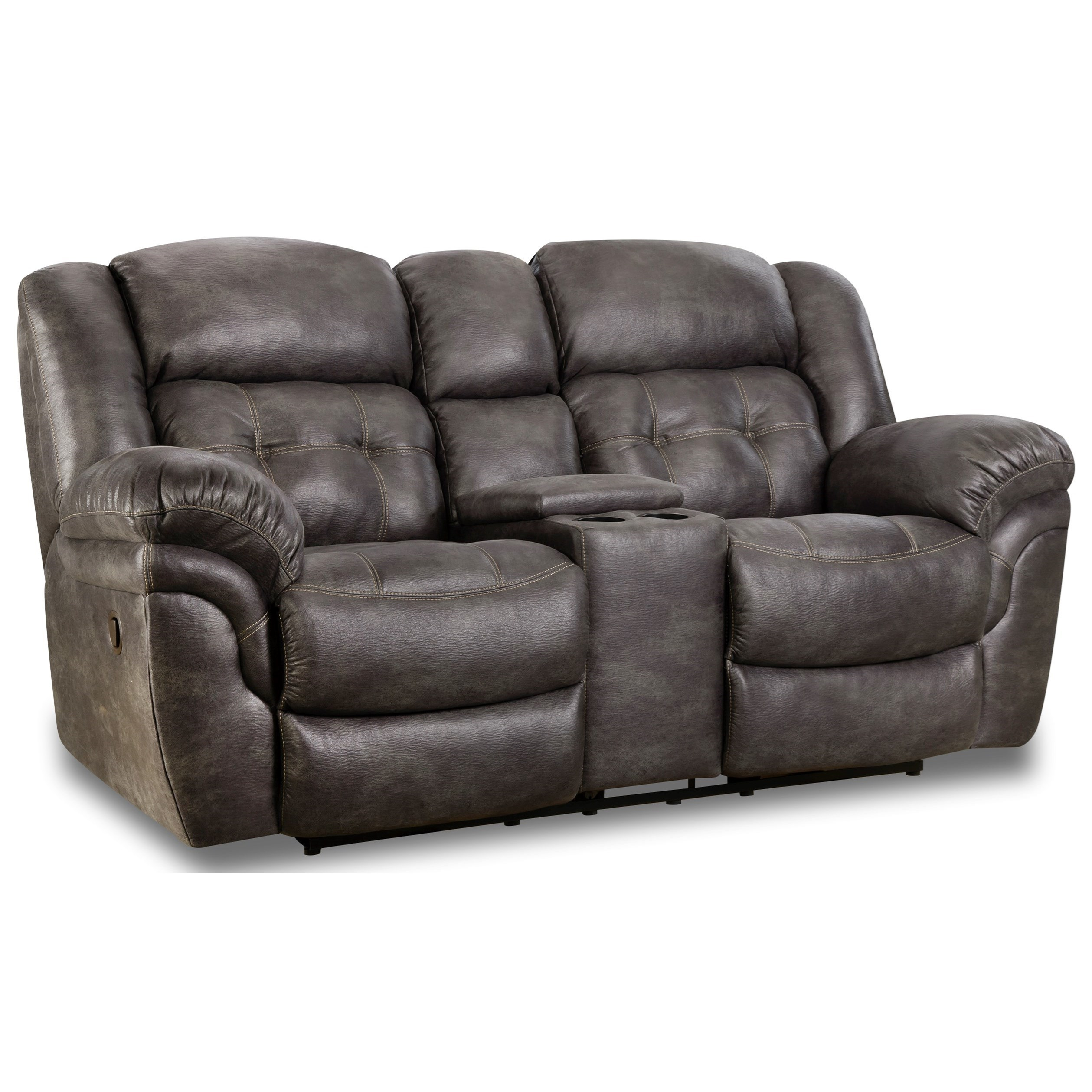 129 Reclining Console Loveseat by HomeStretch at Van Hill Furniture