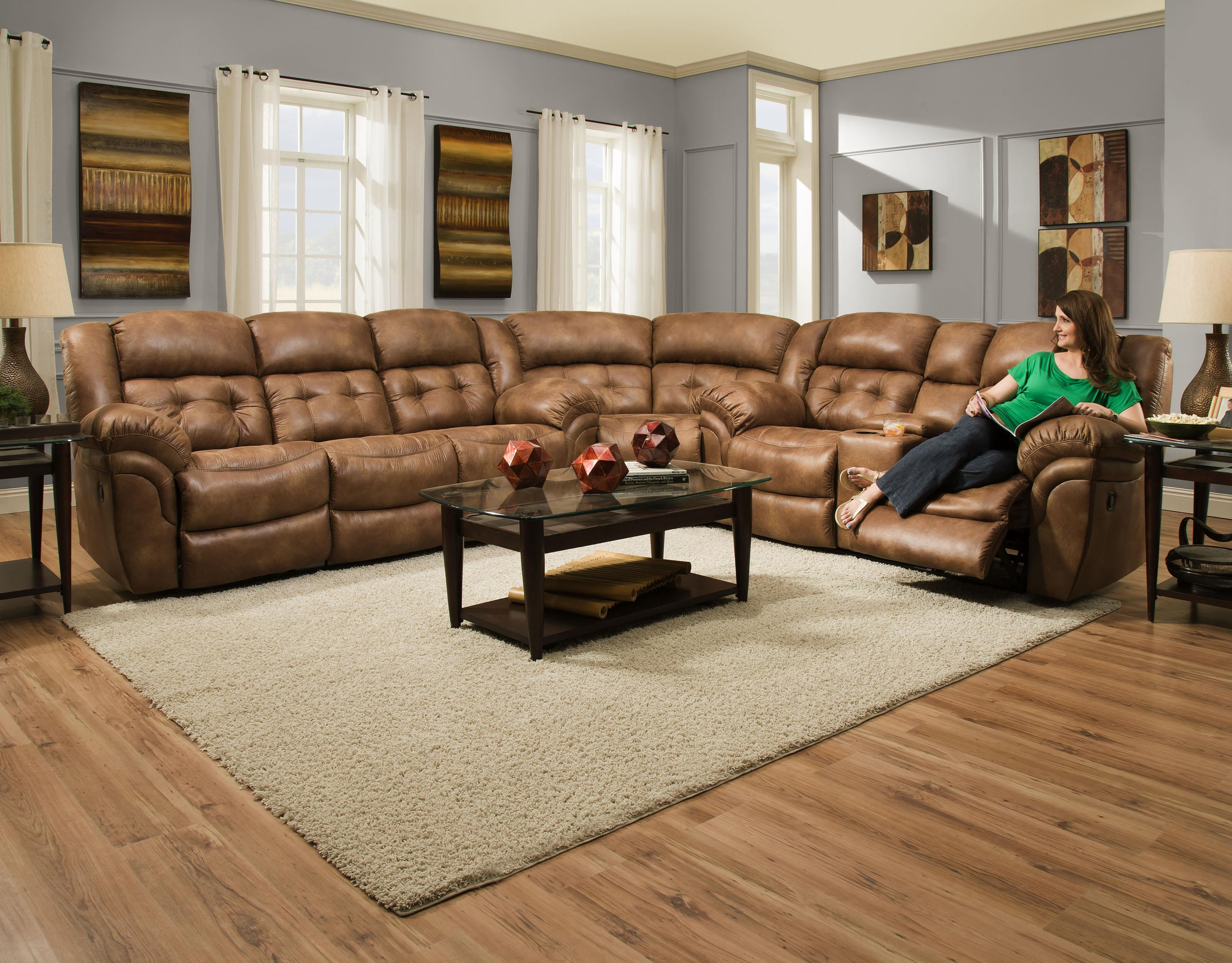 HomeStretch Padre Padre Almond Reclining Sectional Sofa Great