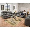 HomeStretch 135 Collection Double Reclining Sofa - Shown with Reclining Console Loveseat