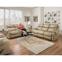 HomeStretch 135 Collection Power Reclining Sofa with Pillow Arms - Shown with Loveseat