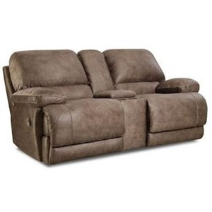 HomeStretch Tyler Reclining Console Loveseat