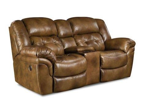 HomeStretch 155 Cheyene Leather Console Reclining Loveseat - Item Number: HOMS-155-22-15