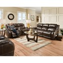 HomeStretch 170 Collection Power Reclining Loveseat with Center Console - Shown with Sofa