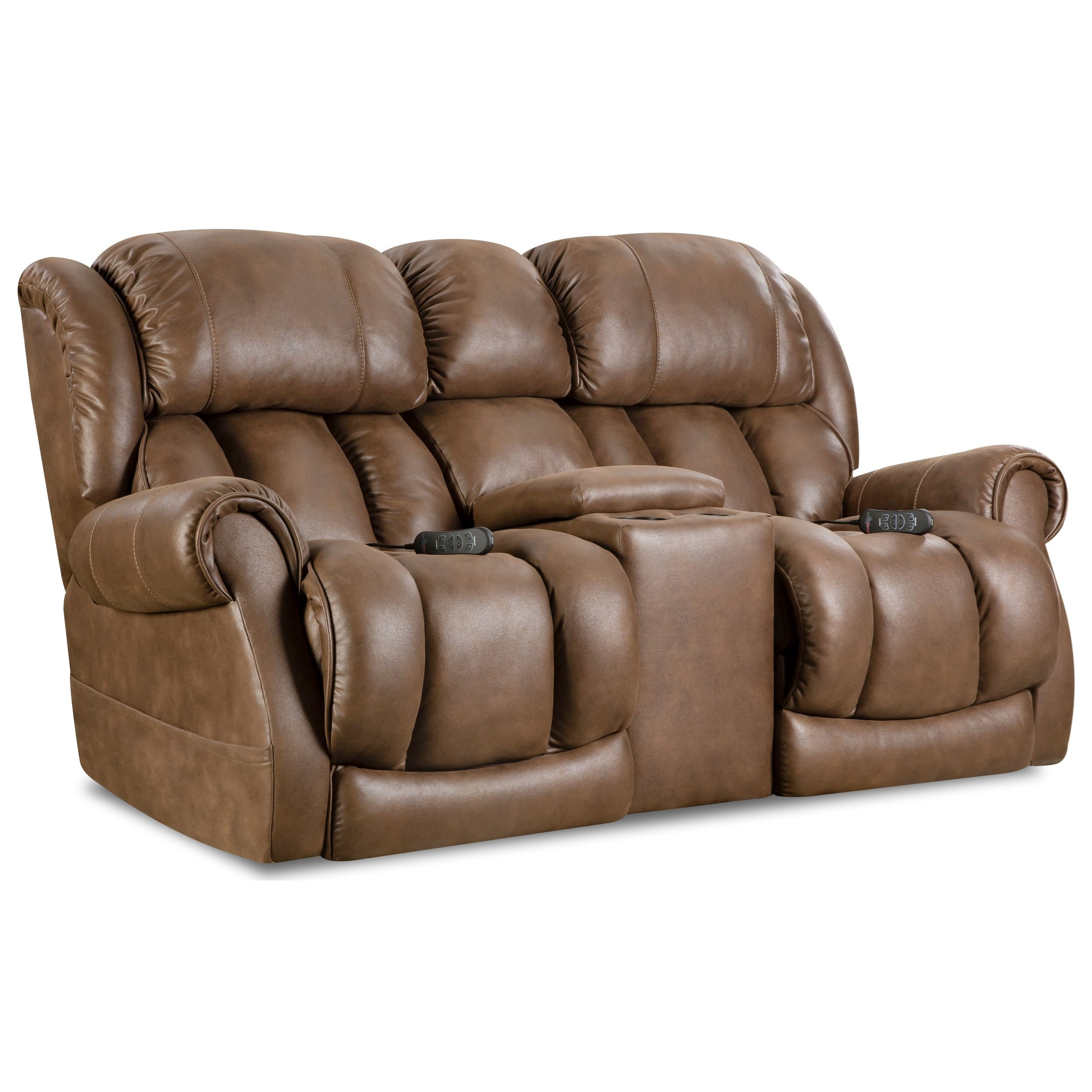 Homestretch atlantis casual power reclining console loveseat with cup holders van hill Loveseat with cup holders
