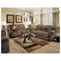 HomeStretch Del Mar 122 Casual Double Reclining Sofa with Pillow Arms