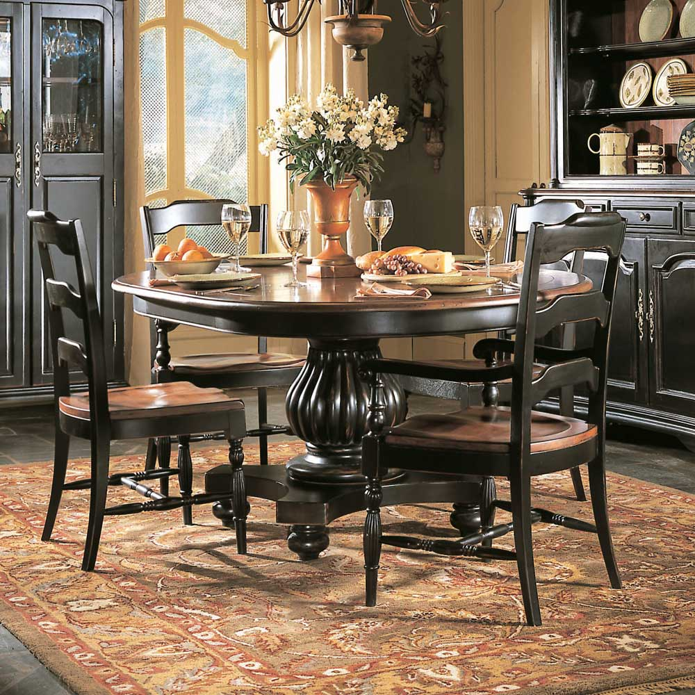 Hooker Furniture Indigo Creek Round Pedestal Dining Table - AHFA ...