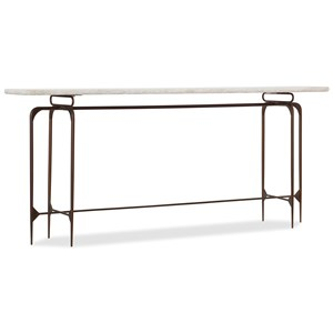 Skinny Metal Console Table with Marble Top