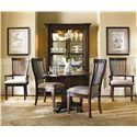 Hooker Furniture Abbott Place Round Drop Leaf Pedestal Dining Table - 637-75-203 - Shown with Slat Arm & Side Chairs