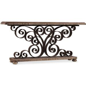 Hooker Furniture Living Room Accents Metal Scroll Console