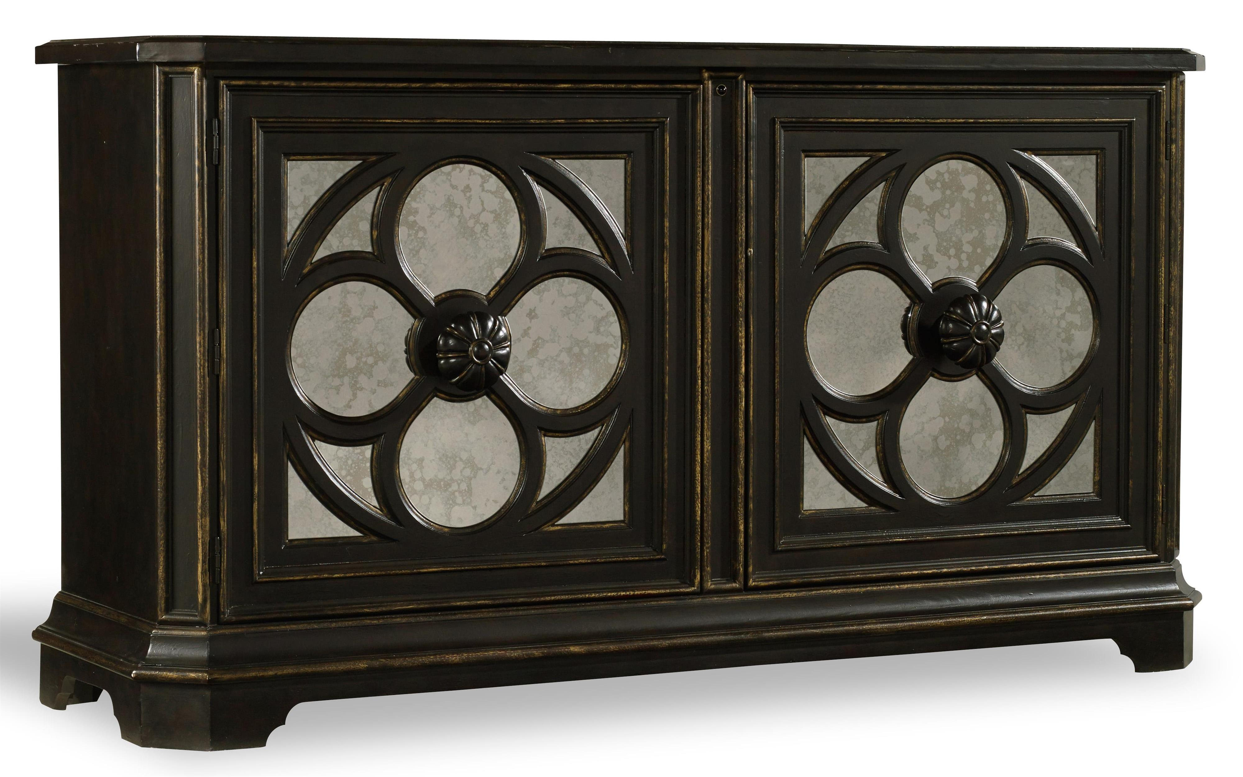 Superbe Hooker Furniture Living Room Accents Large Quatrefoil Chest With Mirrored  Door Fronts