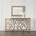 Hooker Furniture Living Room Accents Demilune Console Table with Coral Design