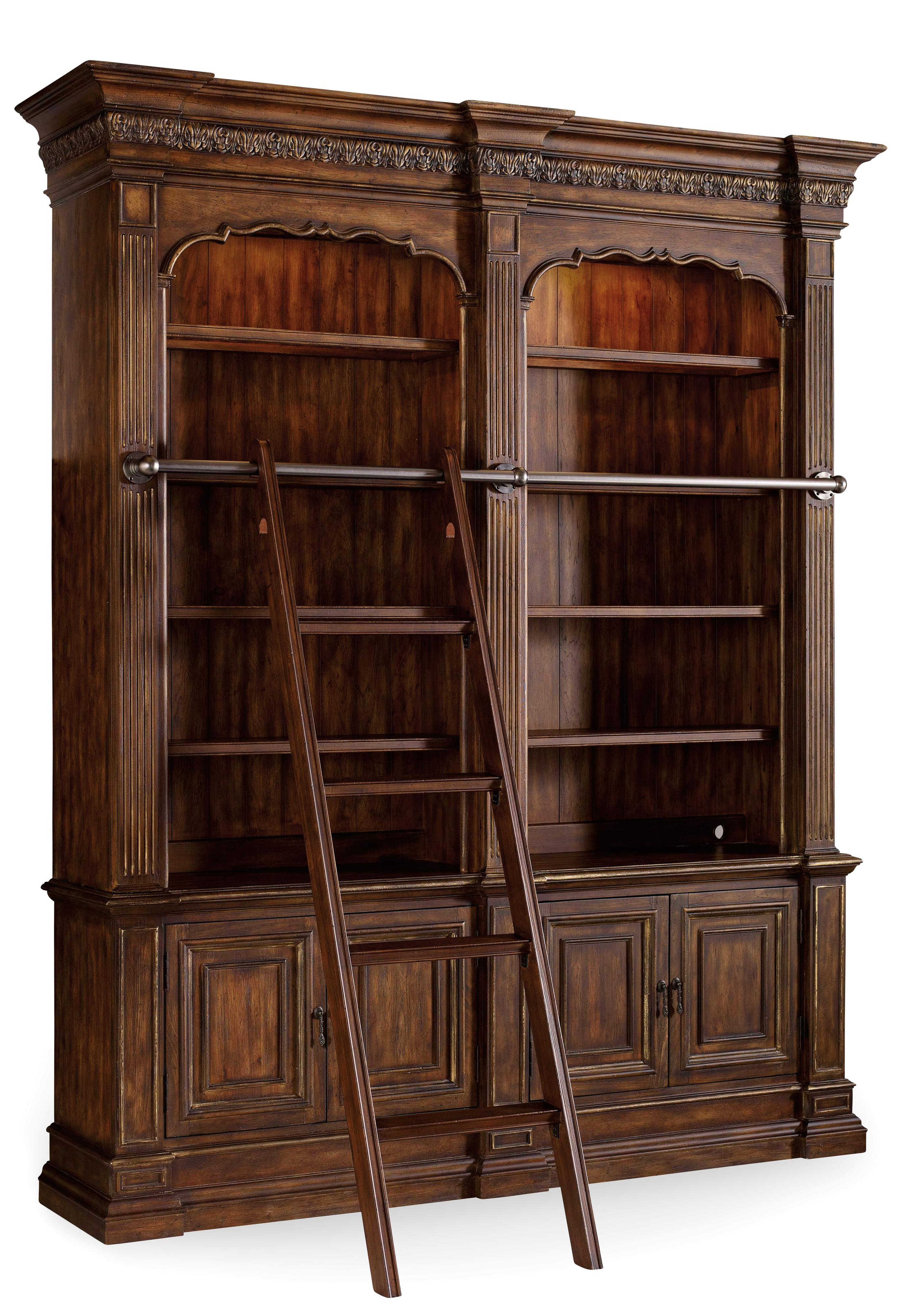 Hooker Furniture Adagio Double Bookcase with Ladder and Rail - Item Number: 5091-10225