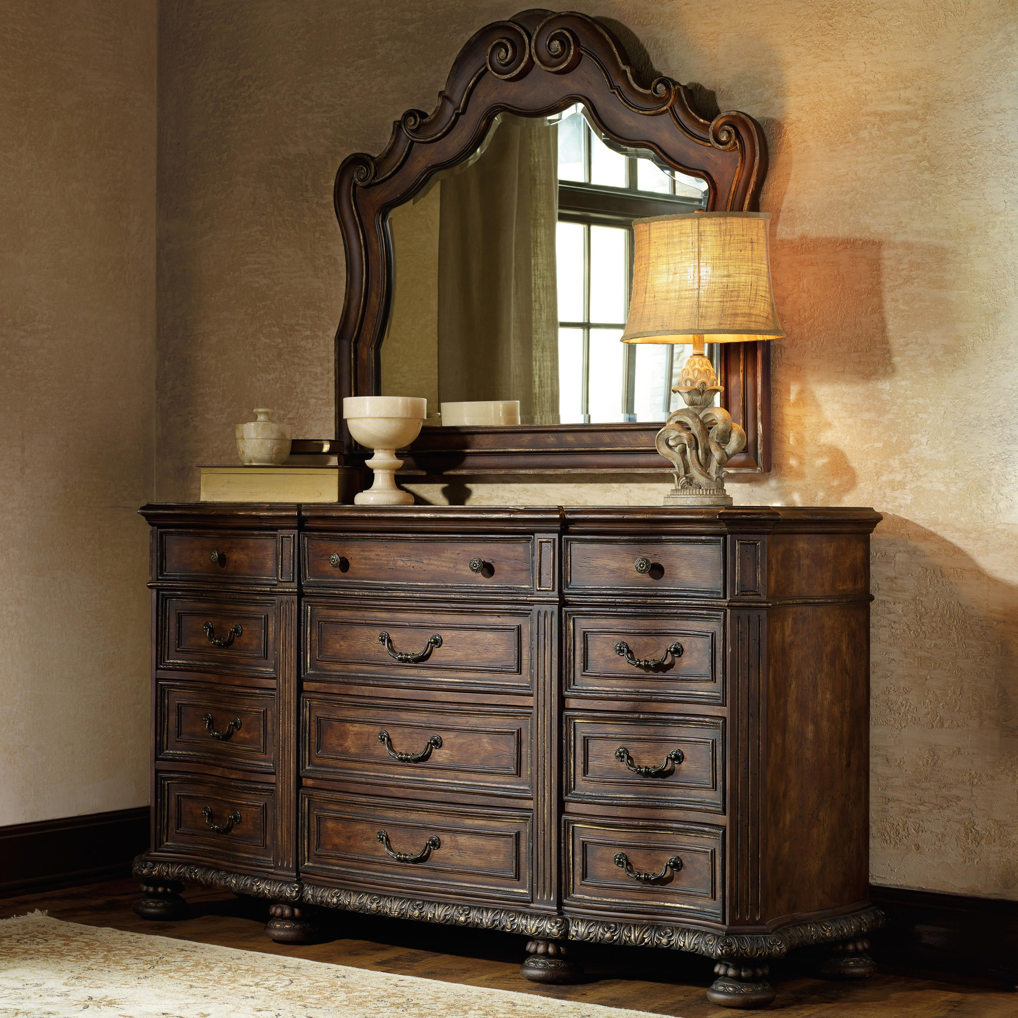 Hooker Furniture Adagio 12 Drawer Dresser with Mirror - Item Number: 5091-90002+8