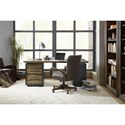 Hooker Furniture American Life-Crafted Leather Swivel Desk Chair with Adjustable Seat and Arms