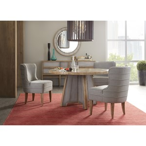 Round Table and Upholstered Chair Set