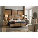 Hooker Furniture American Life-Urban Elevation Queen Wood Panel Bed with Adjustable Height Headboard