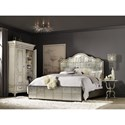 Hooker Furniture Arabella California King Mirrored Panel Bed with Metal Buttons