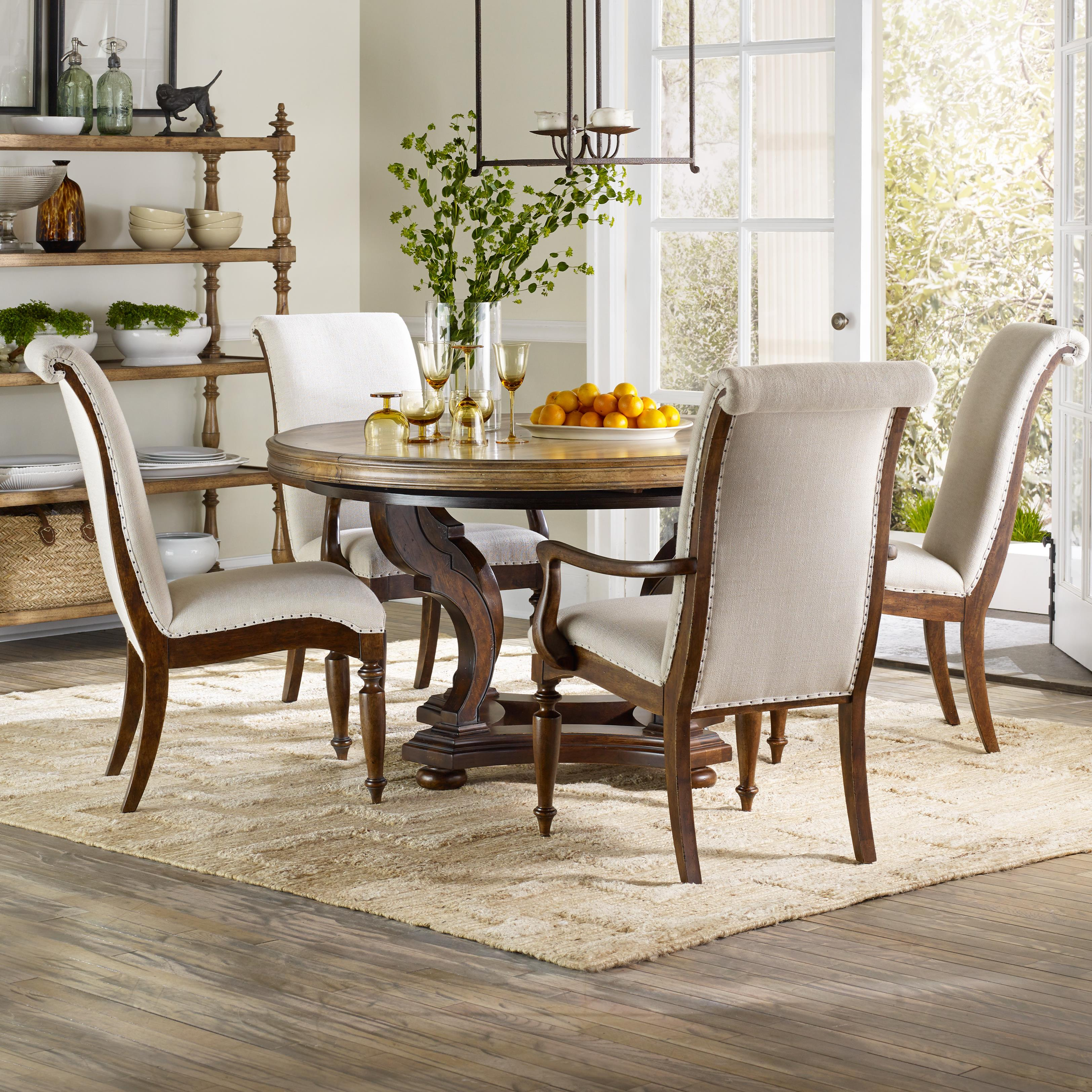 Hooker Furniture Archivist 5 Piece Dining Set - Item Number: 5447-75203-TOFFEE+2x75400+2x75410