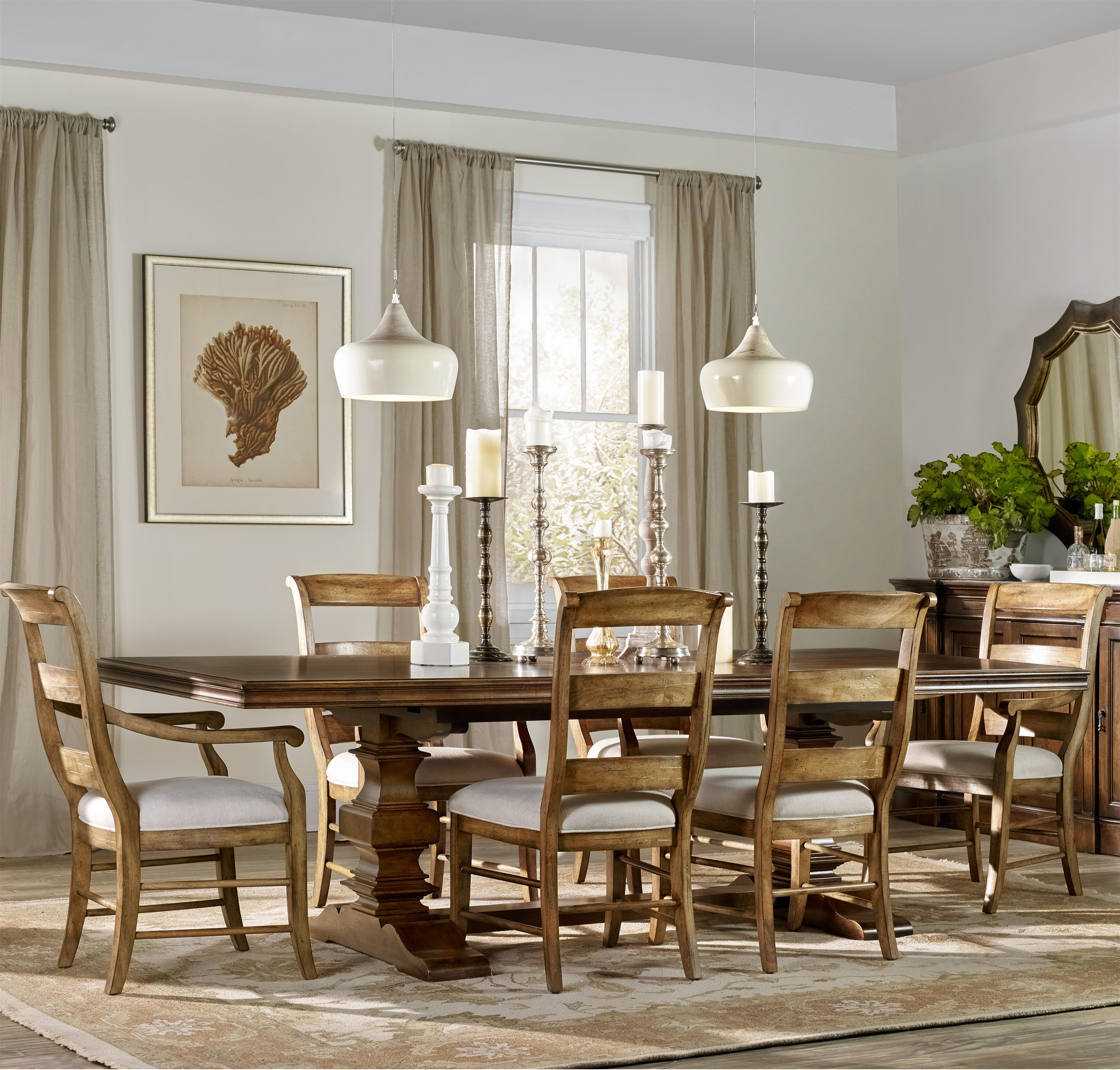 Hooker Furniture Archivist 7 Piece Dining Set - Item Number: 5447-75206+2x700+4x710-TOFFEE