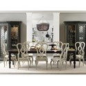 Hooker Furniture Auberose 9 Piece Dining Set - Item Number: 1595-75200-LTBK+2x300C+6x310A