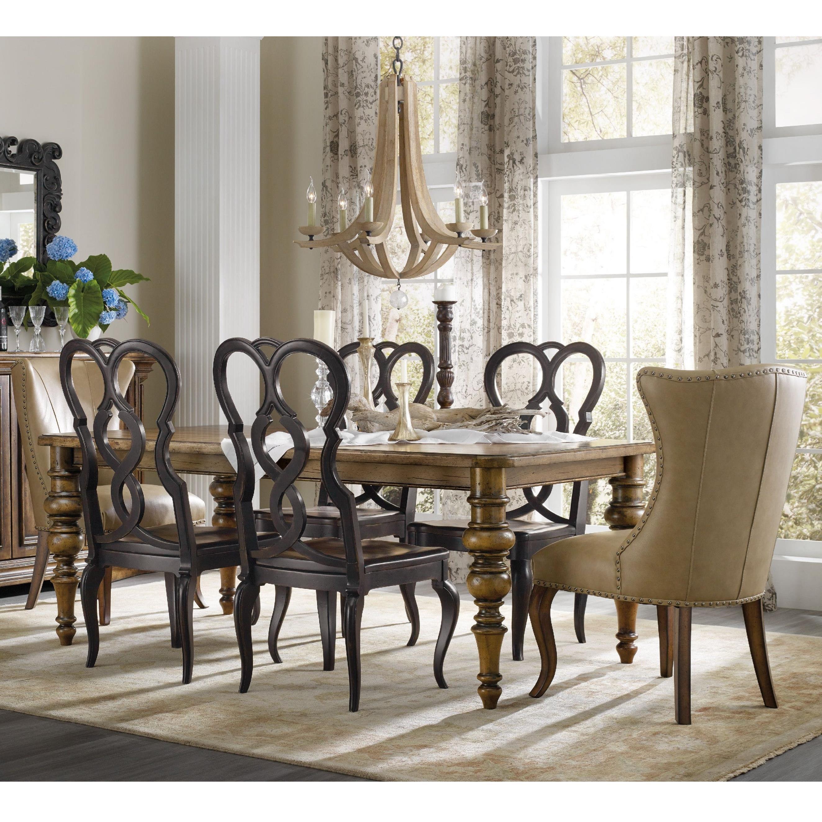 Hooker Furniture Auberose 7 Piece Dining Set - Item Number: 1595-75200A+2x350142+4x75310-LTBK