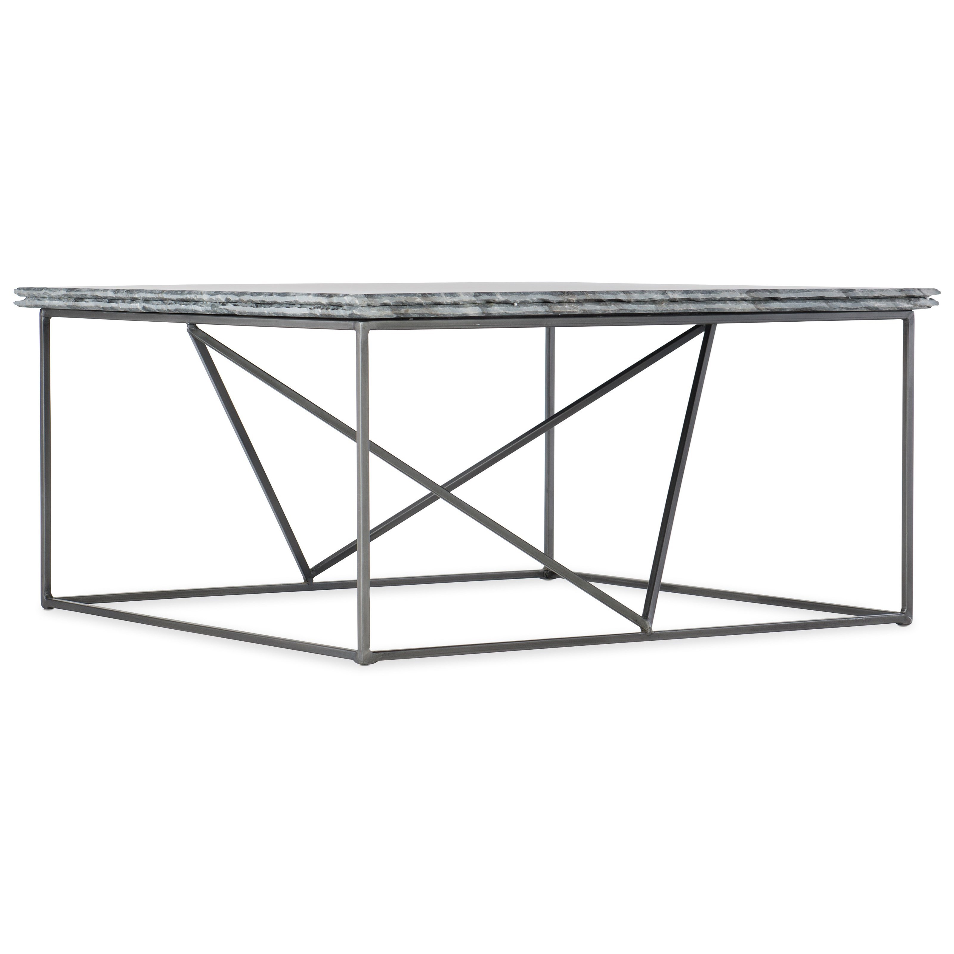 Stone-Metal Cocktail Table