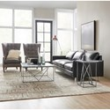 Hooker Furniture Besties Stone-Metal Martini Table with Bluish Gray Marble Top