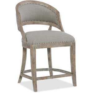 Hooker Furniture Boheme Garnier Barrel Back Counter Stool