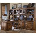Hooker Furniture Brookhaven Lateral File Cabinet with Two Locking Drawers - Shown with Computer Desk, Hutch, Open Hutch, Right Bookcase, Left Bookcase, and Tilt Swivel Chair