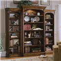 Hooker Furniture Brookhaven Open Bookcase with Six Shelves - Shown with Left and Right Bookcases