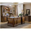 Hooker Furniture Brookhaven Leather Top Executive Desk with Seven Drawers - 281-10-563 - Shown with Credenza, Hutch, Lateral File Cabinet, and Desk Chair