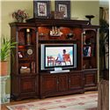 Hooker Furniture Brookhaven TV Console with Three Interchangeable Doors - 281-70-441 - Shown with Back Panel, Shelf, Low Lay-On Bridge, and Left and Right Door Units